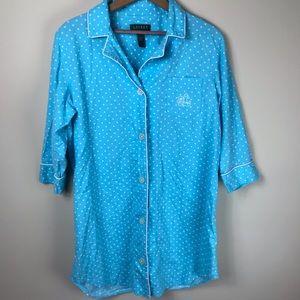 Lauren Ralph Lauren Polka Dot Pajama Shirt Size L